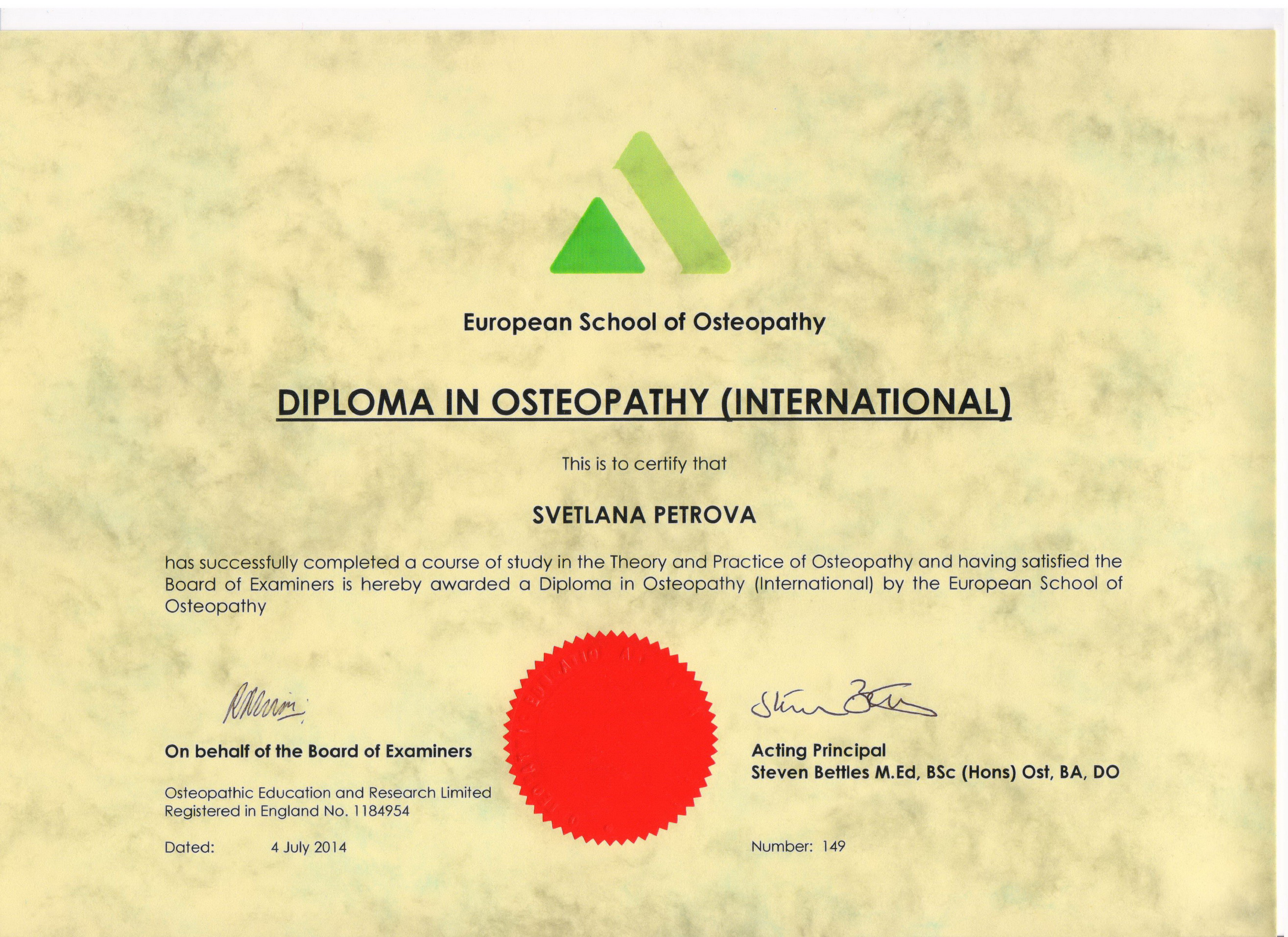 Diploma in Osteopathy (International)